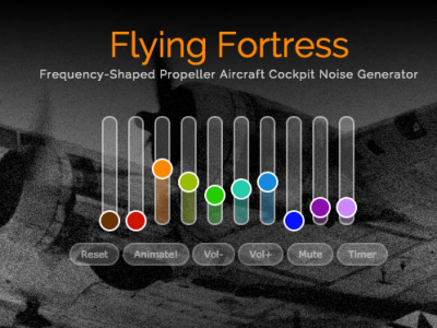 Screenshot taken from myNoise.net. Screenshot shows the website's slide controls, which adjust the various audio streams. This particular stream is set for a B-17 Flying Fortress, with radio chatter barely audible.