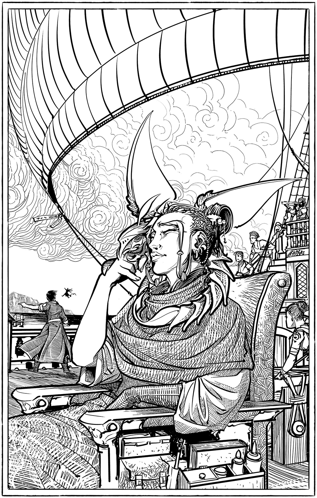In the foreground, a young woman sits in a chair aboard a sailing ship. She is reaching up to scratch under the chin of a winged creature with an exoskeleton body, which is draped around her shoulders. In the background, sailors move about and a man is seen at the ship railing, gesturing to a small humanoid creature that is hovering in the air.