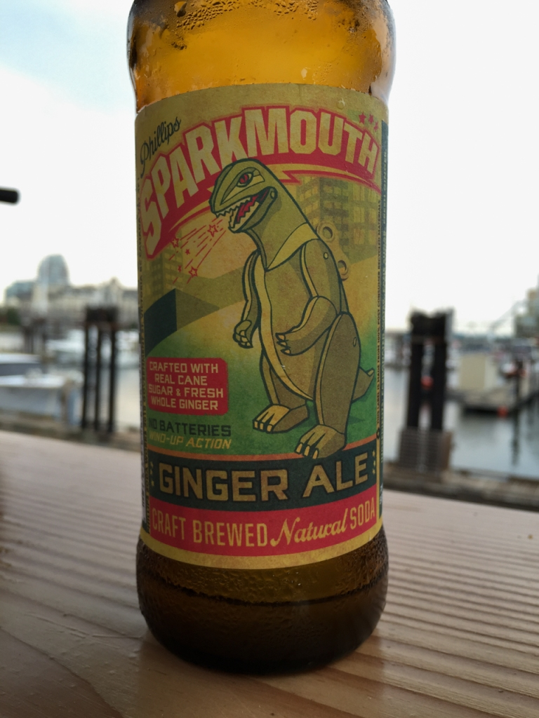 Bottle label reads: Phillips Sparkmouth Ginger Ale