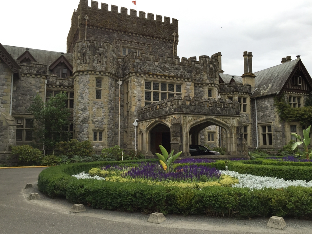 Front entrance of Hatley Castle. Inside of the circle drive is a garden.